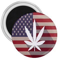 Flag American Star Blue Line White Red Marijuana Leaf 3  Magnets by Mariart