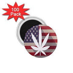 Flag American Star Blue Line White Red Marijuana Leaf 1 75  Magnets (100 Pack)  by Mariart