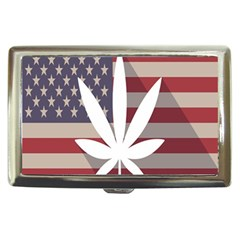 Flag American Star Blue Line White Red Marijuana Leaf Cigarette Money Cases by Mariart