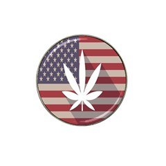 Flag American Star Blue Line White Red Marijuana Leaf Hat Clip Ball Marker by Mariart