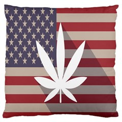 Flag American Star Blue Line White Red Marijuana Leaf Standard Flano Cushion Case (two Sides) by Mariart