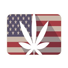Flag American Star Blue Line White Red Marijuana Leaf Double Sided Flano Blanket (mini)  by Mariart