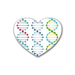 Genetic Dna Blood Flow Cells Rubber Coaster (heart)  by Mariart