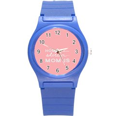 Home Love Mom Sexy Pink Round Plastic Sport Watch (s) by Mariart