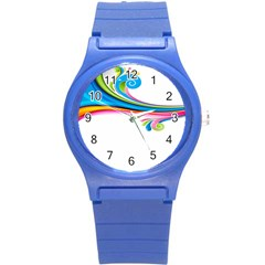 Colored Lines Rainbow Round Plastic Sport Watch (s) by Mariart