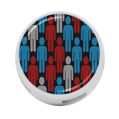 Human Man People Red Blue Grey Black 4 Port Usb Hub (two Sides)  by Mariart