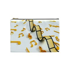 Isolated Three Dimensional Negative Roll Musical Notes Movie Cosmetic Bag (medium)  by Mariart