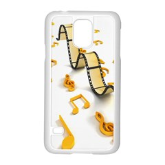 Isolated Three Dimensional Negative Roll Musical Notes Movie Samsung Galaxy S5 Case (white) by Mariart