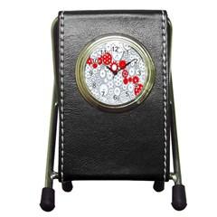 Iron Chain White Red Pen Holder Desk Clocks by Mariart