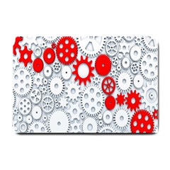 Iron Chain White Red Small Doormat  by Mariart