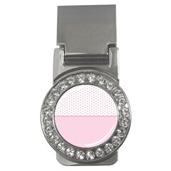 Love Polka Dot White Pink Line Money Clips (cz)  by Mariart