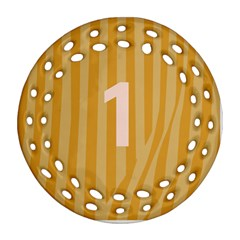Number 1 Line Vertical Yellow Pink Orange Wave Chevron Round Filigree Ornament (two Sides) by Mariart