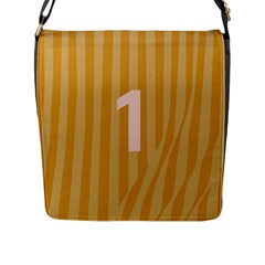 Number 1 Line Vertical Yellow Pink Orange Wave Chevron Flap Messenger Bag (l)  by Mariart