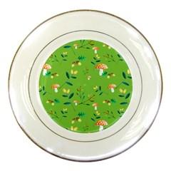 Mushrooms Flower Leaf Tulip Porcelain Plates by Mariart