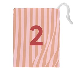 Number 2 Line Vertical Red Pink Wave Chevron Drawstring Pouches (xxl) by Mariart