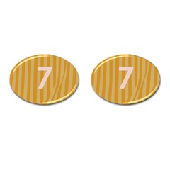 Number 7 Line Vertical Yellow Pink Orange Wave Chevron Cufflinks (oval) by Mariart