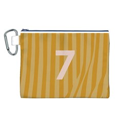 Number 7 Line Vertical Yellow Pink Orange Wave Chevron Canvas Cosmetic Bag (l) by Mariart