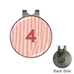Number 4 Line Vertical Red Pink Wave Chevron Hat Clips With Golf Markers by Mariart