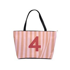 Number 4 Line Vertical Red Pink Wave Chevron Shoulder Handbags by Mariart