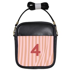 Number 4 Line Vertical Red Pink Wave Chevron Girls Sling Bags by Mariart