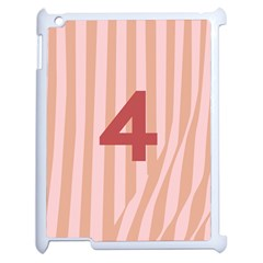 Number 4 Line Vertical Red Pink Wave Chevron Apple iPad 2 Case (White) by Mariart