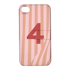 Number 4 Line Vertical Red Pink Wave Chevron Apple Iphone 4/4s Hardshell Case With Stand by Mariart