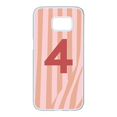Number 4 Line Vertical Red Pink Wave Chevron Samsung Galaxy S7 Edge White Seamless Case by Mariart