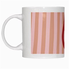 Number 6 Line Vertical Red Pink Wave Chevron White Mugs by Mariart
