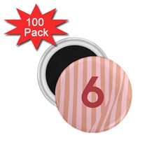 Number 6 Line Vertical Red Pink Wave Chevron 1 75  Magnets (100 Pack)  by Mariart