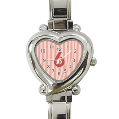 Number 6 Line Vertical Red Pink Wave Chevron Heart Italian Charm Watch by Mariart
