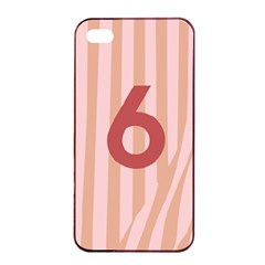 Number 6 Line Vertical Red Pink Wave Chevron Apple Iphone 4/4s Seamless Case (black) by Mariart