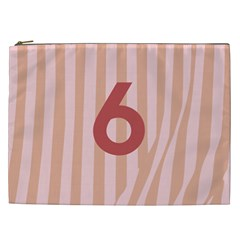 Number 6 Line Vertical Red Pink Wave Chevron Cosmetic Bag (xxl)  by Mariart