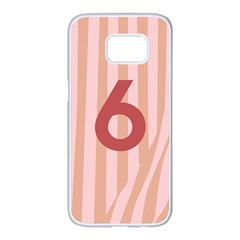 Number 6 Line Vertical Red Pink Wave Chevron Samsung Galaxy S7 Edge White Seamless Case by Mariart