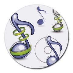 Notes Musical Elements Round Mousepads by Mariart