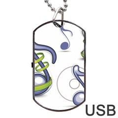 Notes Musical Elements Dog Tag Usb Flash (one Side) by Mariart
