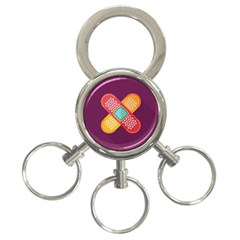 Plaster Scratch Sore Polka Line Purple Yellow 3 Ring Key Chains by Mariart