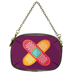Plaster Scratch Sore Polka Line Purple Yellow Chain Purses (one Side)  by Mariart