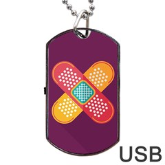 Plaster Scratch Sore Polka Line Purple Yellow Dog Tag Usb Flash (one Side) by Mariart
