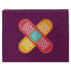 Plaster Scratch Sore Polka Line Purple Yellow Cosmetic Bag (xxxl)  by Mariart