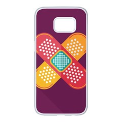 Plaster Scratch Sore Polka Line Purple Yellow Samsung Galaxy S7 Edge White Seamless Case by Mariart