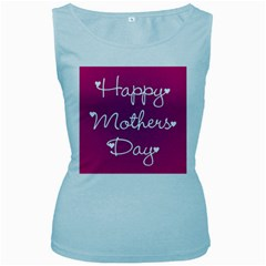 Valentine Happy Mothers Day Pink Heart Love Women s Baby Blue Tank Top by Mariart
