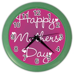 Valentine Happy Mothers Day Pink Heart Love Color Wall Clocks by Mariart
