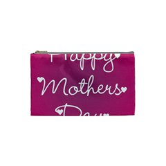 Valentine Happy Mothers Day Pink Heart Love Cosmetic Bag (small)  by Mariart