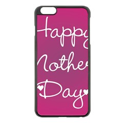 Valentine Happy Mothers Day Pink Heart Love Apple Iphone 6 Plus/6s Plus Black Enamel Case by Mariart