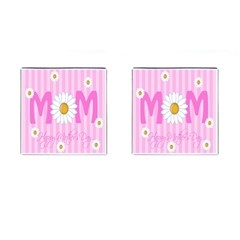 Valentine Happy Mothers Day Pink Heart Love Sunflower Flower Cufflinks (square) by Mariart