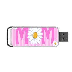 Valentine Happy Mothers Day Pink Heart Love Sunflower Flower Portable Usb Flash (two Sides) by Mariart