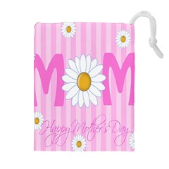 Valentine Happy Mothers Day Pink Heart Love Sunflower Flower Drawstring Pouches (extra Large) by Mariart