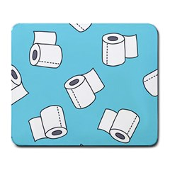 Roller Tissue White Blue Restroom Large Mousepads by Mariart