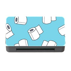 Roller Tissue White Blue Restroom Memory Card Reader With Cf by Mariart
