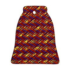 Linje Chevron Blue Yellow Brown Bell Ornament (two Sides) by Mariart